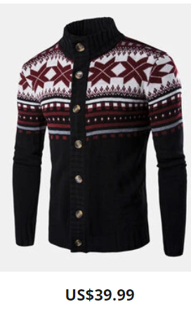 Mens Knitted Rib Christmas Snowflake Pattern Button Front Casual Cardigans