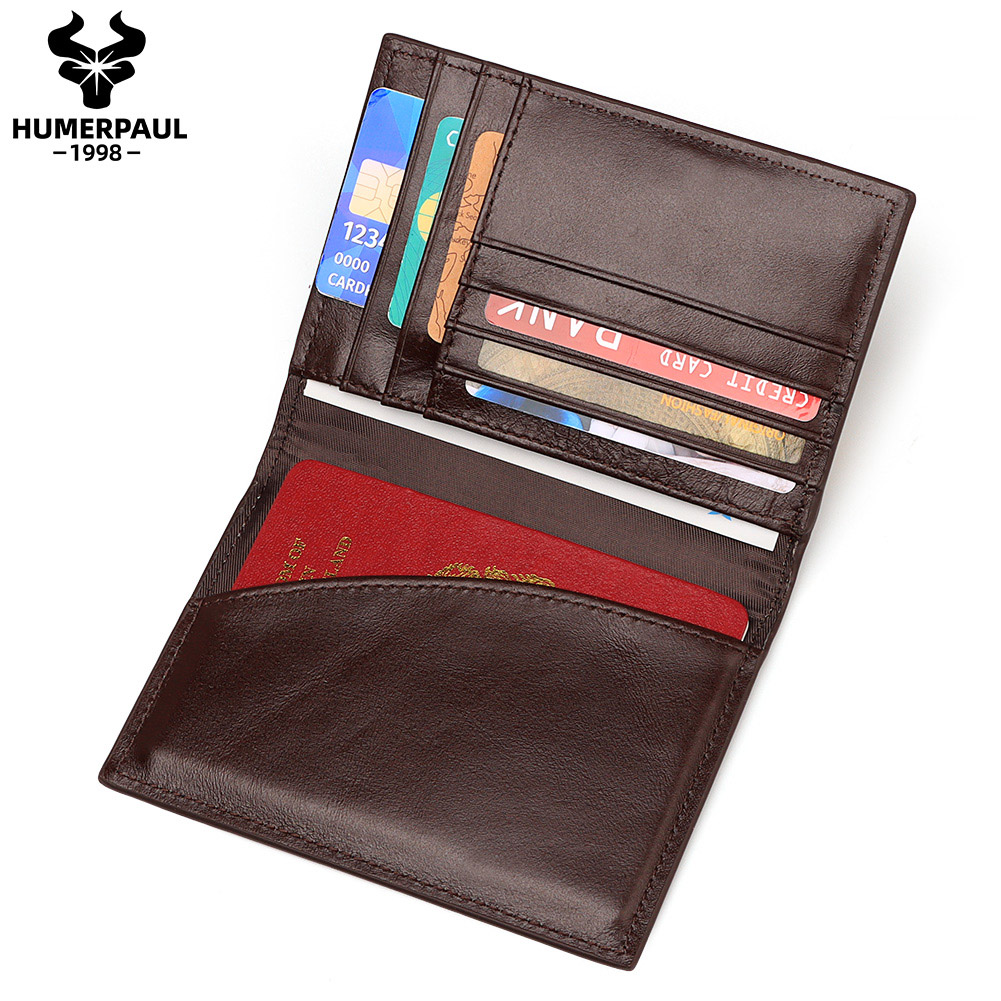 HUMERPAUL Genuine Leather Travel Wallet Business Minimalist Coffee Purse Direct Factory Id Card Hold