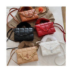 INS NEW Fur Handle Crossbody Bag For Women Fashion Letter Shoulder Bag Female Luxury Quilted Handbag
