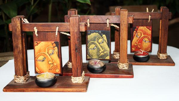 Wood candle holder-HC-050- Size 10x19x15 cm.