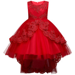Blue color Flower Girl Dress for 8 years old Princess trailing party dress Children's layered modeli