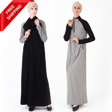 FREE SHIPPING Zipper Collar Loose Sleeves Color Matching Cotton Sports Leisure Abaya Comfortable Ladies Dresses Islamic Clothing