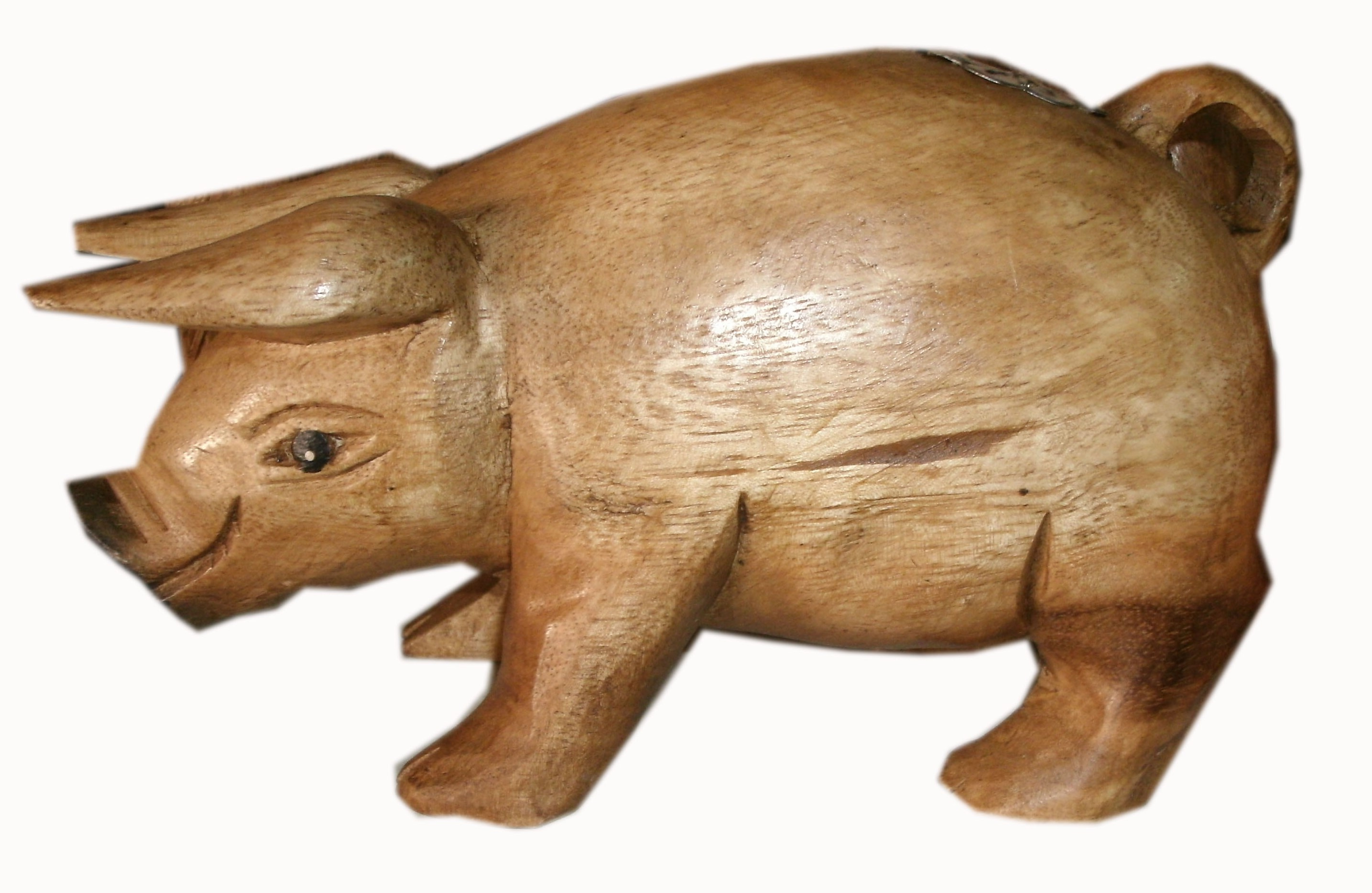 Wood pig figurine