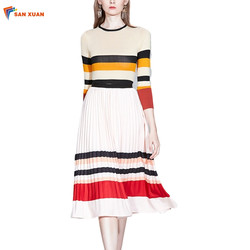 Ready to ship fashion elegant knitted long sleeve stripe top and pleated skirt wholesale winter wome