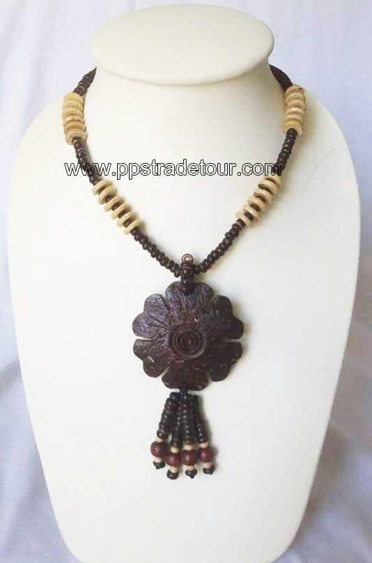 coconut shell bead necklace- 5836