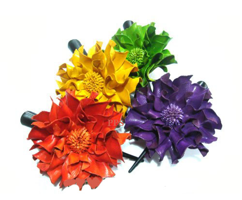 Leather Flower for hair Clips-g40