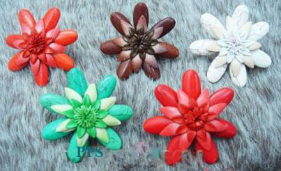 Leather Flower for hair Clips-fl2