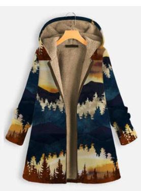 Landscape Print Thick Hooded Long Sleeve Coat For Women SKUG29832