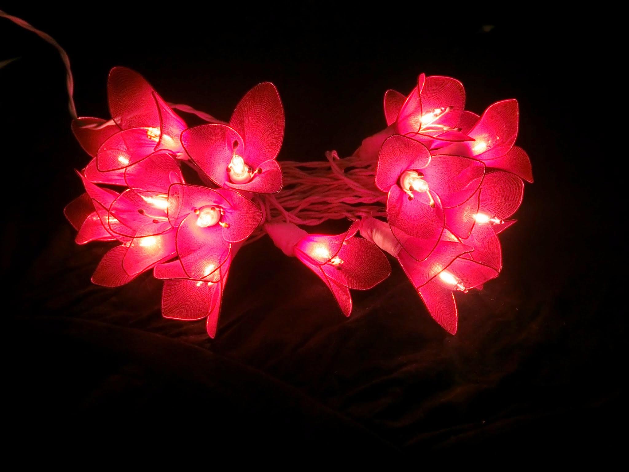 Nylon flower lights with battery