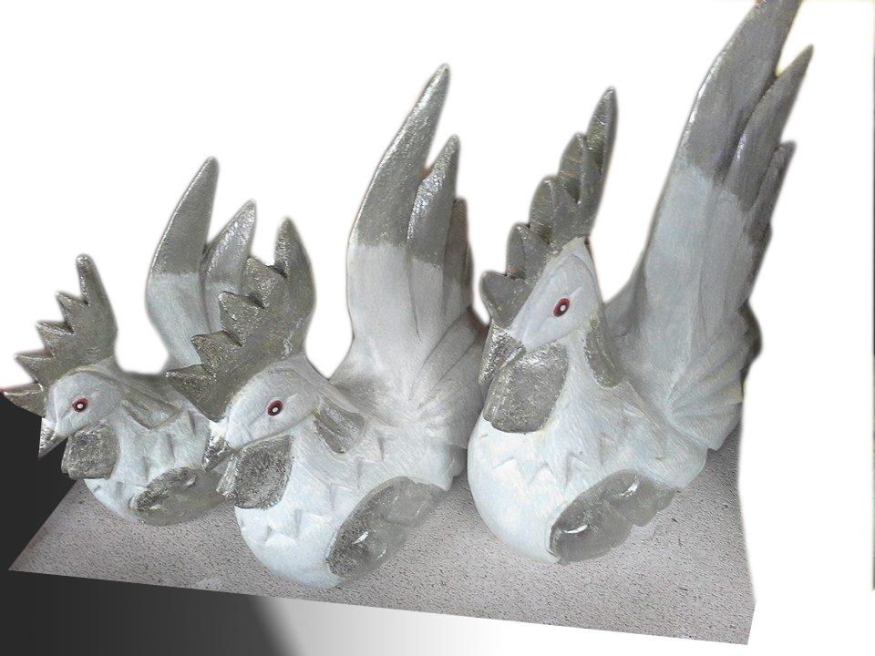 Decorative silver  chicken family
