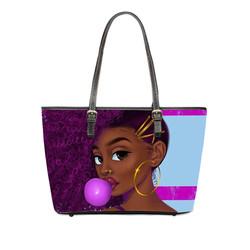 Sinosun Women PU Handbags Black Queen Art African Girl Printing Hand Bag Ladies Ethnic Top-Handle Ba