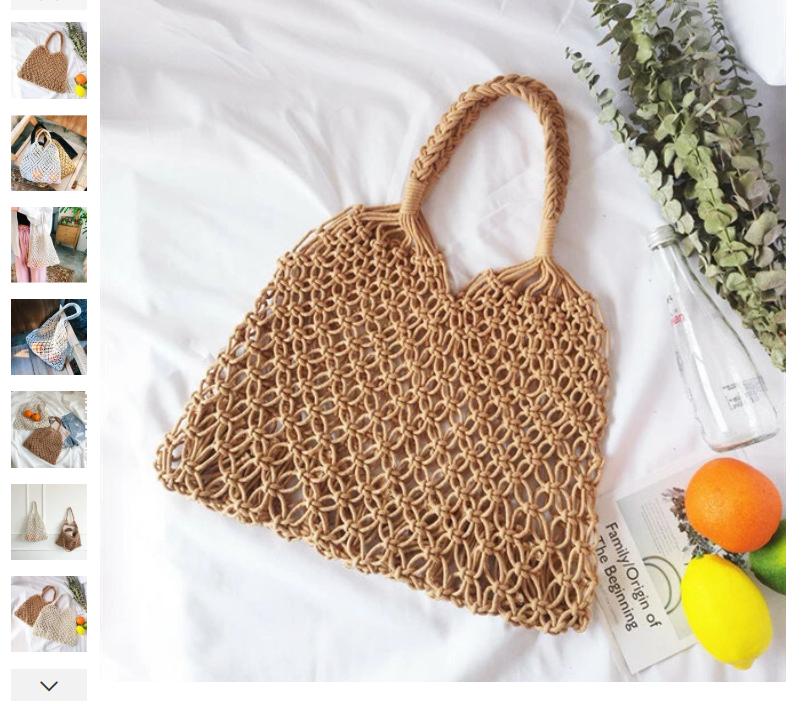 Women Bucket Bag Handmade Cotton Rope Net Pocket Beach bag Swim Storage Bag