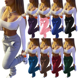 New Arrival track  solid stacked pants legging, stack pants with ruched