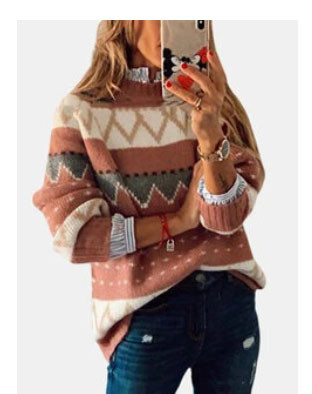VintagePrinted Long Sleeve O-neck Sweater For Women SKUF93791