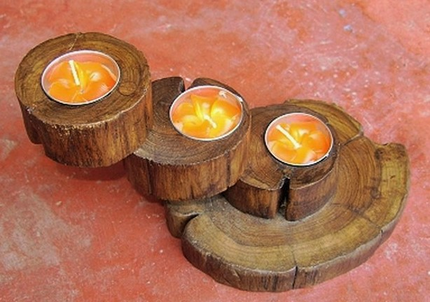 Wood candle holder-CH010-3
