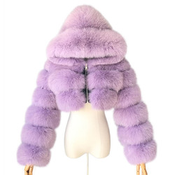 2019 New Design Fox Fur Bomber Jacket Women Winter Short Real Fur Hood Coat