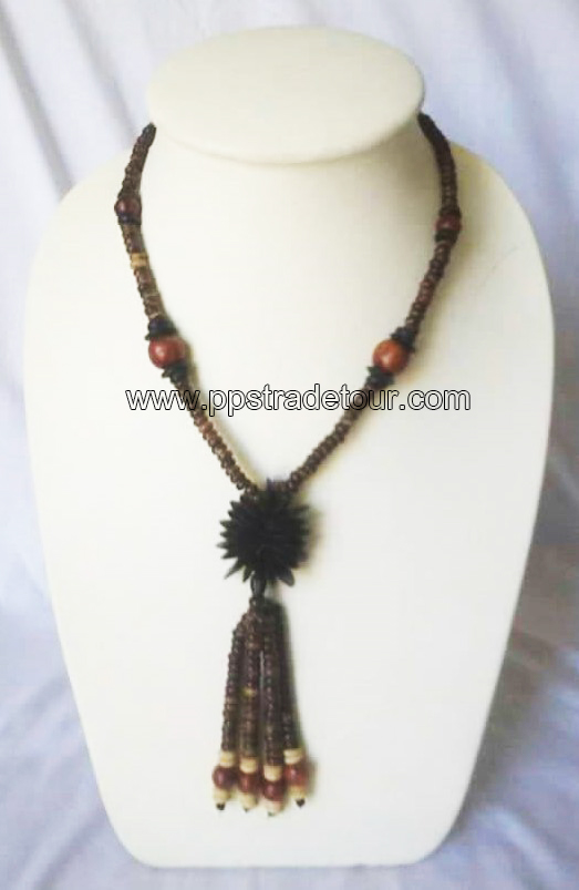 coconut shell bead necklace-5841