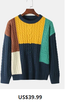 Mens Colorblock Cable Knitted Cotton Round Neck Pullover Sweater