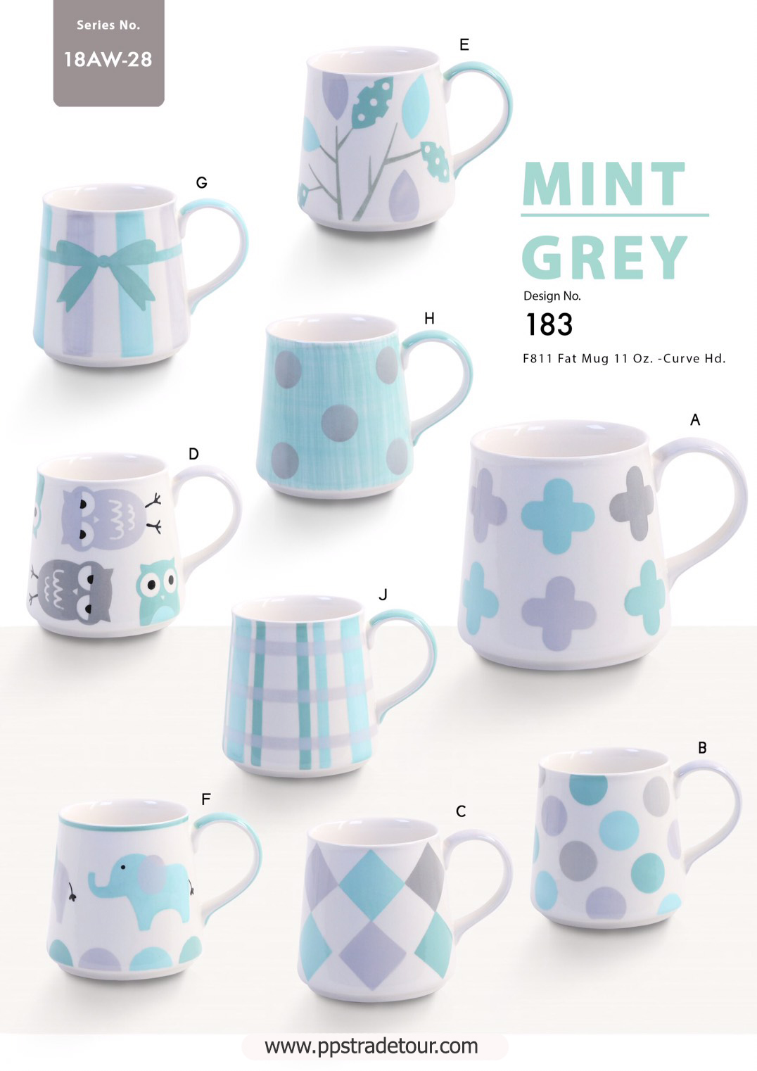 Mint Grey-Ceramic Mug 11 Oz.