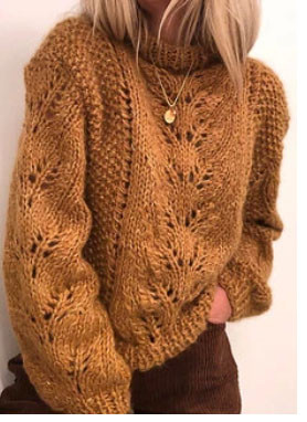 Solid Color Loose Knit Pullover Sweater For Women SKUG56413