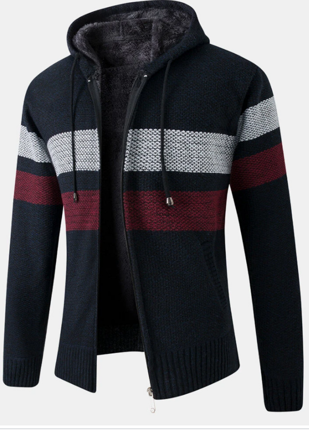 Mens Patchwork Zip Front Plush Lined Knit Cotton Long Sleeve Hooded Cardigans