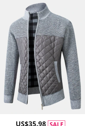 Mens Patchwork Zip Up Knit Cotton Slant Pocket Casual Long Sleeve Cardigans