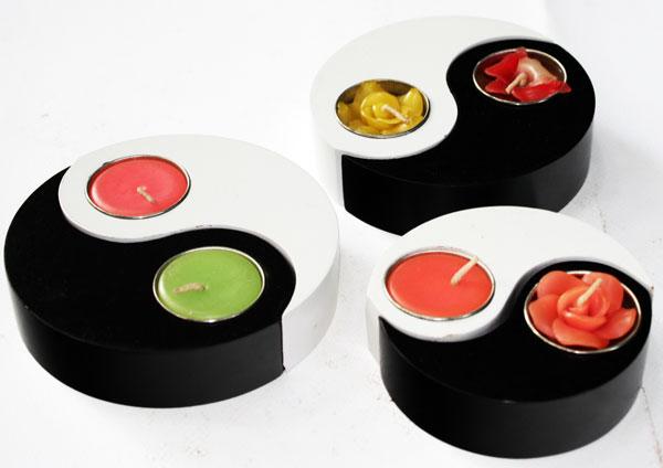 Wood Yin Yang candle holder-HC-051