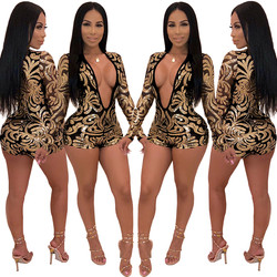 2020 Summer European and American Women's Sexy Deep V-neck Printed Sequin Jumpsuit Women