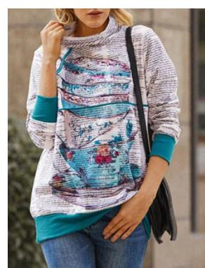 Cartoon Print Zipper High Neck Long Sleeve Sweatshirt For Women