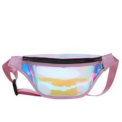 Wholesale girl holographic jelly fanny packs waterproof clear pvc bum bag women waist bag