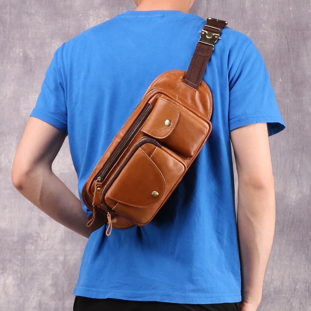 Custom Tactical Chest Bag Cross Chest Bag Men  Leather Messenger Bag Multifunctional Fanny Pack Cust