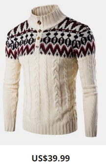 Mens Vintage Pattern Half Button Cable Knit Casual Pullover Sweaters