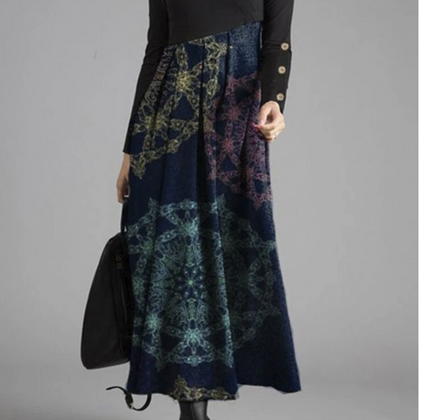 Print Patchwork Long Sleeve Casual Maxi Dress For WomenSKUG53115
