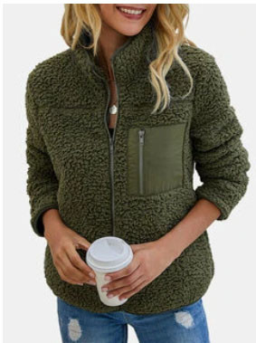 Solid Color Long Sleeves Turn Down Collar Zipper Wool Coat For Women SKUG27094