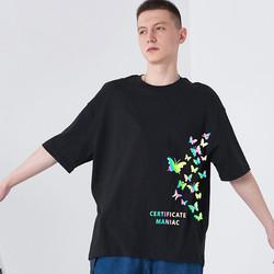 wholesale custom reflective laser printing t-shirt 100% cotton short sleeve 3m reflective graphic te
