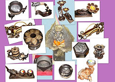 candle holder, wood box, wood ash tray,