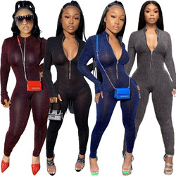 Jumpsuits women translucent slim sparkling elastic jumpsuit romper casual zipper active wear bodysui