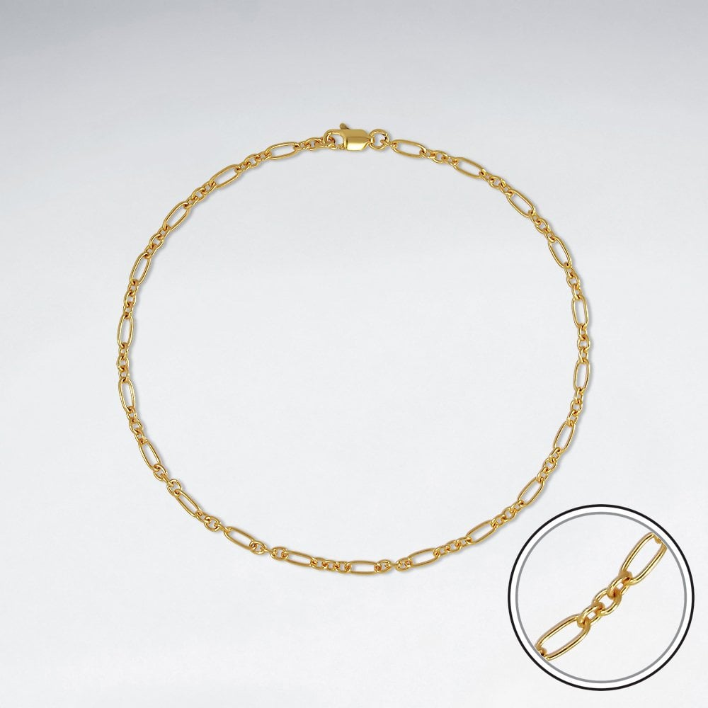STERLING SILVER MOTHER AND SON CABLE 18K GOLD PLATED WITH E-COATING BRACELET CHAIN LENGTH 10 INCHES