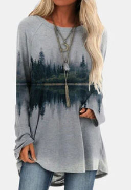 Landscape Printed Long Sleeve O-neck Asymmetrical T-shirt For Women SKUG21487