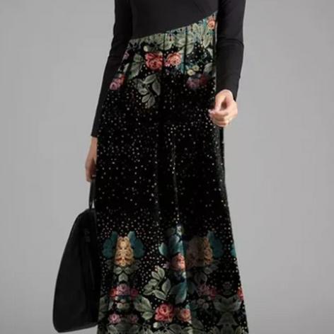 Vintage Printed Asymmetrical Patchwork Dress For WomenSKUG34678.png