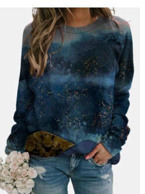 Landscape Print Long Sleeve O-neck Casual Sweatshirts For Women SKUG34523