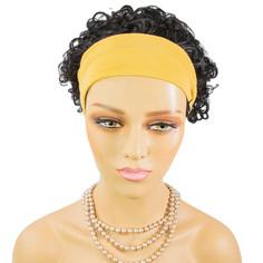Free shipping Best selling remy human hair 3/4 wig with headband 150% density Burmese curly human hair headband wig