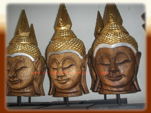 Wood Buddha Head Carved
