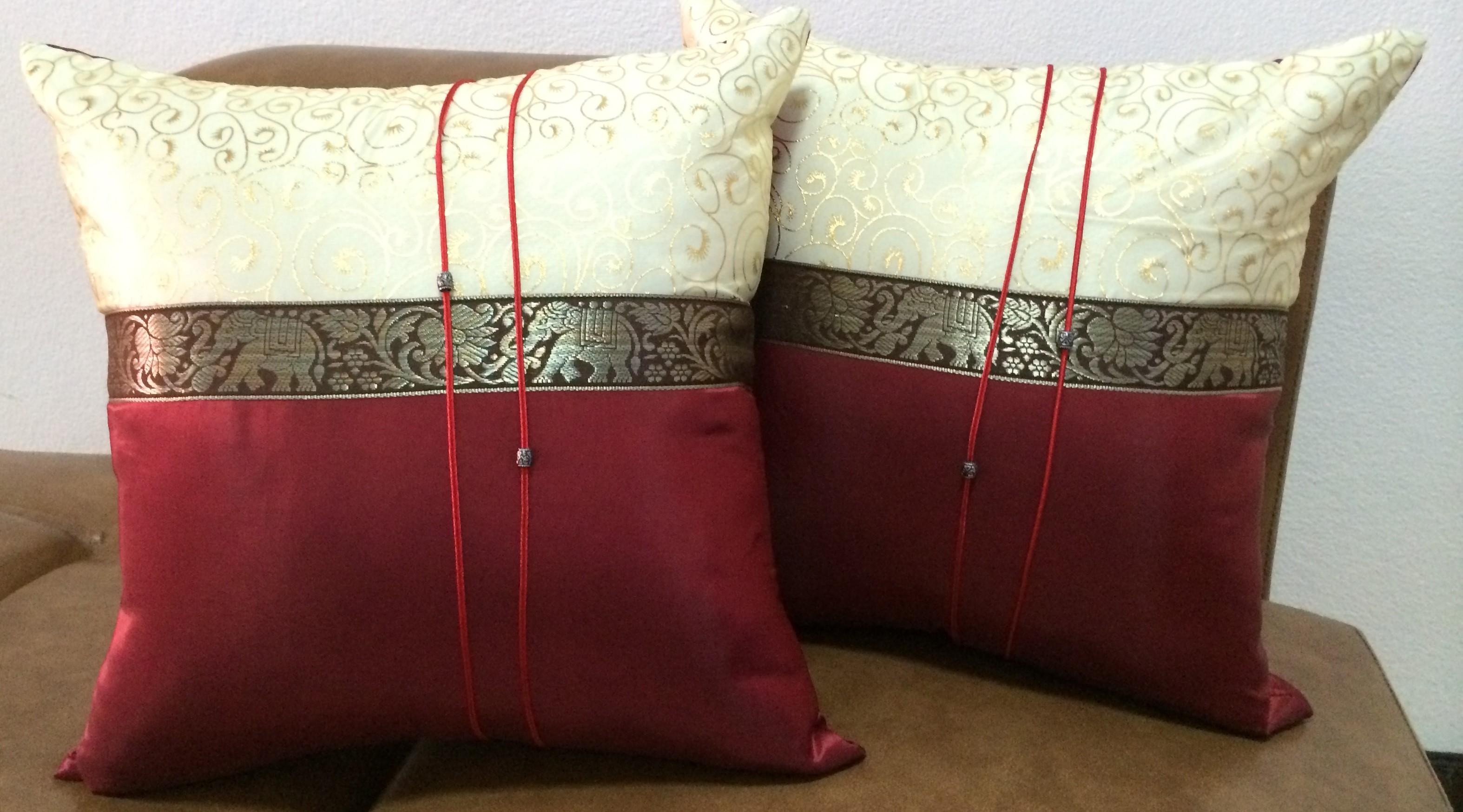 Cushion pillow Case-RedGold-Pair