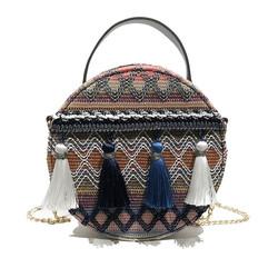 2020 new luxury round bag tassels leather handbag women crossbody shoulder bag printing flower big c
