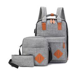 wholesale 3 Pcs Set School Backpack for teenager Fashion Leisure bag Large Capacity Waterproof Lapto