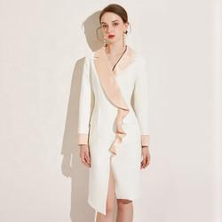 Custom Design Formal Long Sleeves Satin Ruffles Lapel Sexy Slit Ladies Office Work Career Dress