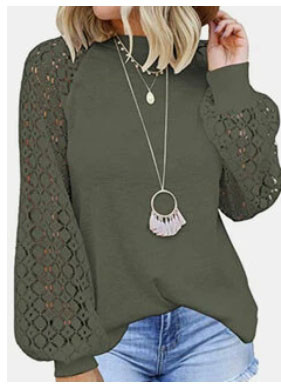 Lace Patchwork Solid Long Sleeve Casual Blouse For Women SKUG12093
