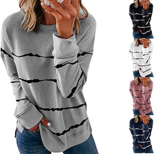 Q55 hoodie 2020 New Autumn Tops Large Size Women Tie Dye Stripe T Shirt Casual Long Sleeve Oversized Loose Tee Shirt