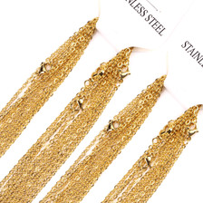 Width 2mm Cut Rolo Round Link Stainless Steel Chain 18K Gold Plated Necklace Chains Wholesale Jewelry Chain